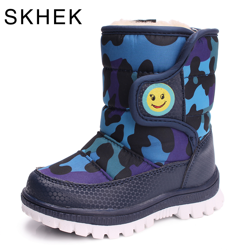 SKHEK Girls Boy Boots Dla Kid Snow Botas Winter Warm Plush Baby Boot Wodoodporne Miękkie Bottom antypoślizgowe Skórzane botki Buty dla dzieci