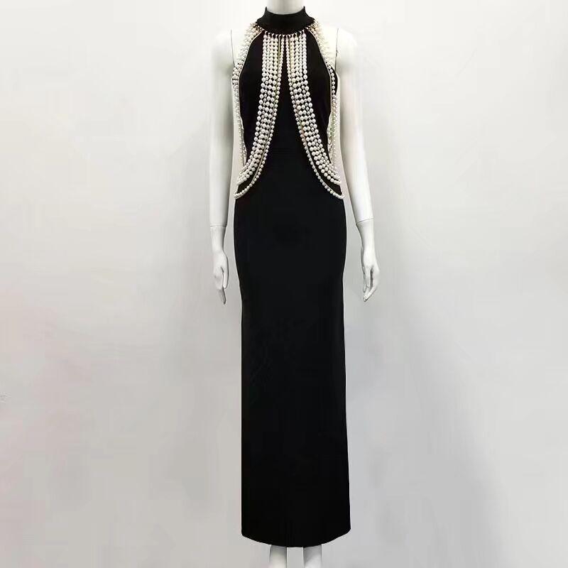 Новое черное бежевое женское Бандажное платье HL сексуальное облегающее платье длиной до пола с бисером вечернее платье