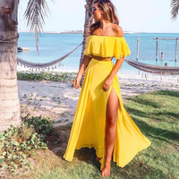 Summer Women Outfits Yellow Sexy 2pcs Set Floor Length Maxi Skirt Split Side Off The Shoulder Backless Crop Tops Ruffled Top
