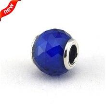 Compatible con Pandora joyas pulsera 100% 925 Glass Beads geométrica facetas, Royal Blue Crystal DIY venta al por mayor