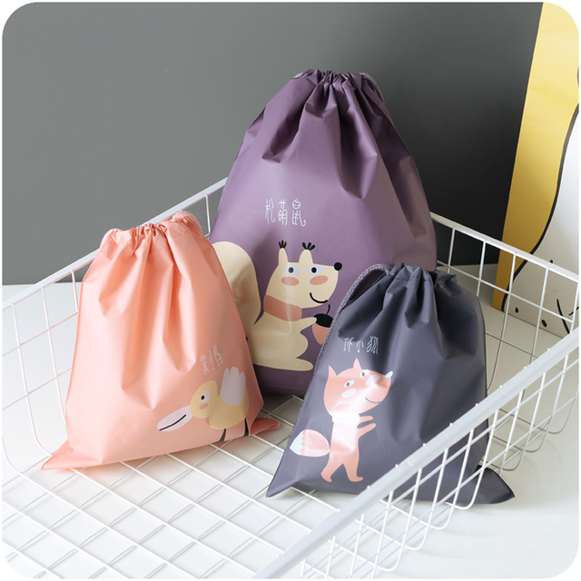 MENGXIANG PE Cartoon animals Baby Toys Storage Bags Laundry Hanging Drawstring Bag Household Pouch Bag Home Storage Organization