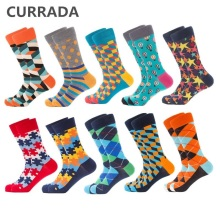 CURRADA 10 Pairs/lot Funny Men Socks New Colorful Happy Combed Cotton Crew Man Sock Hip Hop Casual Novelty Compression