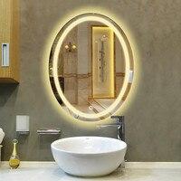 Овальный светодиодный настенный светильник для ванной комнаты с зеркалом, зеркало для макияжа с лампой, современный сенсорный переключате