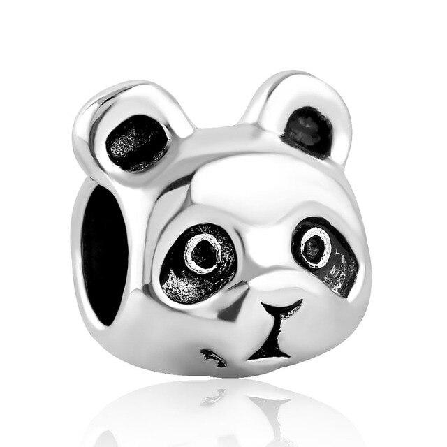 Free Shipping Christmas Gift 1pc Silver Panda Big Hole Bead Charms Fit  European Pandora Style Bracelet