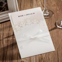 50pcs Pack Laser Cut Wedding Invitation Bowknot White Invitations Cards With RSVP Card For Birthday Party