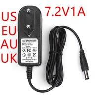 500PCS NEUE 7 2 V 1A Power adapter 7.2V1000mA adapter 100 240VAC DC kopf ist 5 5*2 1mm UK/ AU/EU/us stecker|adapter dc|power adapterdc adapter -