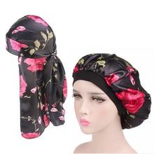 New Design Silky Durag And Bonnet 2pcs Set Satin Women Sleep Cap