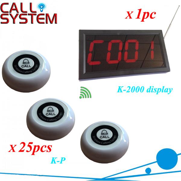 1 conjunto de controle sem fio campainha sistema utilizado no bar, Café casa 1 monitor conecte a 25 mesa sino
