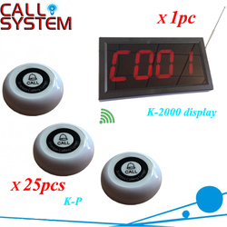 1 set Wireless control buzzer system used in the Bar, Cafe House 1 monitor connect to 25 table bell