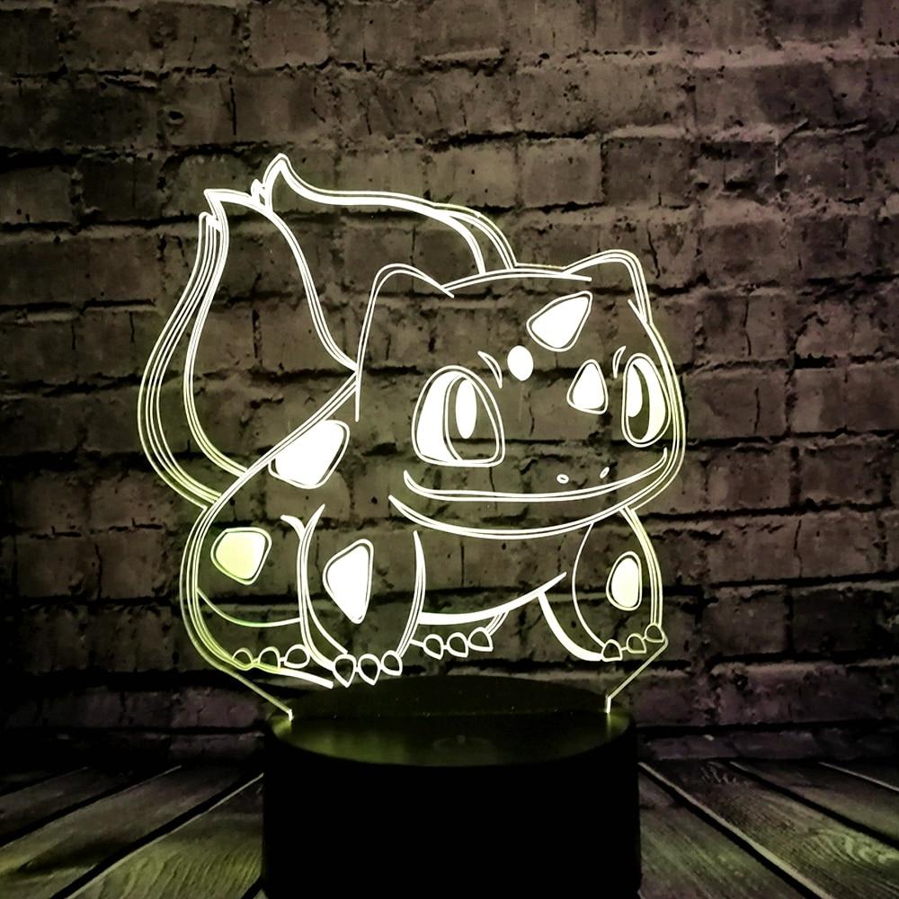 Tier Frosch Samen 3D Cartoon USB Lampe Pokeball Bulbasaur Pokemon Go - Nachtlichter - Foto 2