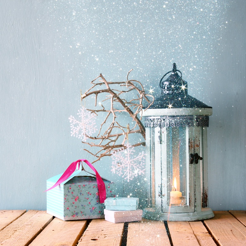 Laeacco Wooden Floor Snowflake Branch Lamp Candle Photography Backgrounds Customized Photographic Backdrops For Photo Studio