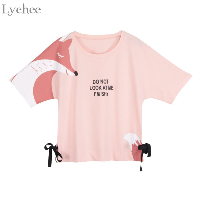 14f163fe Lychee Summer Women T-shirt Cartoon Fox Letter Print Bow Tie Short Sleeve T  Shirt Tee Top