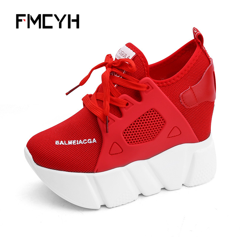 FMCYH Women Casual Shoes 2018 Fashion Women Shoes Summer Wedge Platform Mesh Woman Sneakers Increase Heels White Ladies Footwear