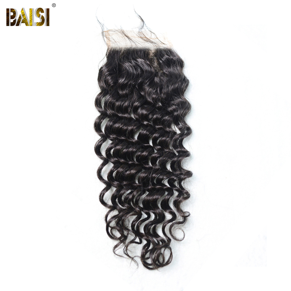 BAISI Hair Brazilian Virgin Hair Silk Base Closure 4x4 Deep Wave Silk Closure 100 Human Hair