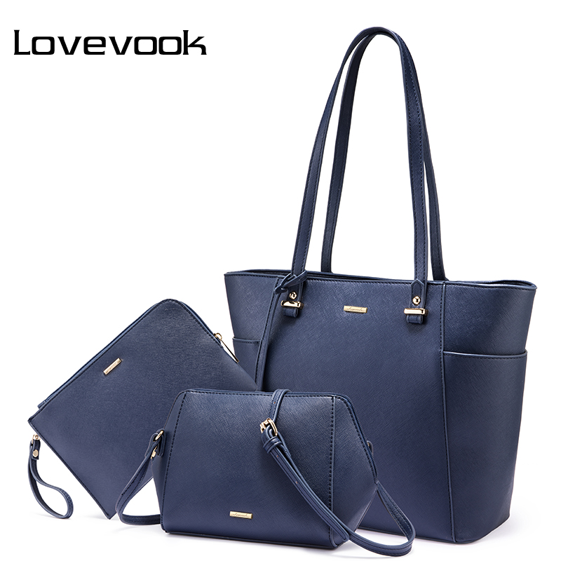 90fdef900e LOVEVOOK handbags women 3 pcs set shoulder crossbody bags female clutch bag  ladies messenger bags tote big high quality 2018