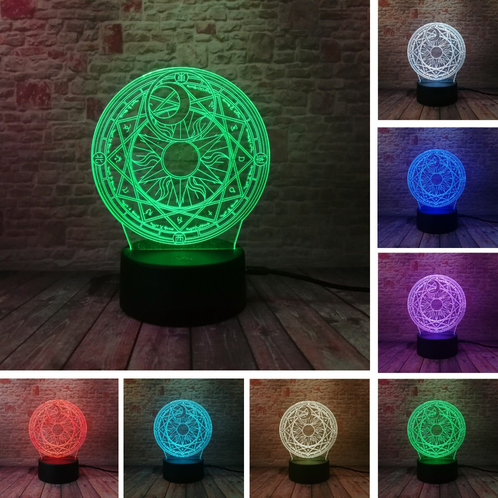 Anime Japanese Cardcaptor Card Captor Sakura Magic Circle Array 7 Color Change Night Light Table Lamp Holiday Christmas Toy Gift