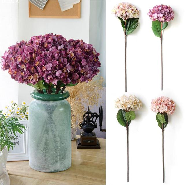 1pcs Hydrangea Head Artificial Flower Decorations On Hotel Windows Wedding Party Decoration Flowers Supplies Home