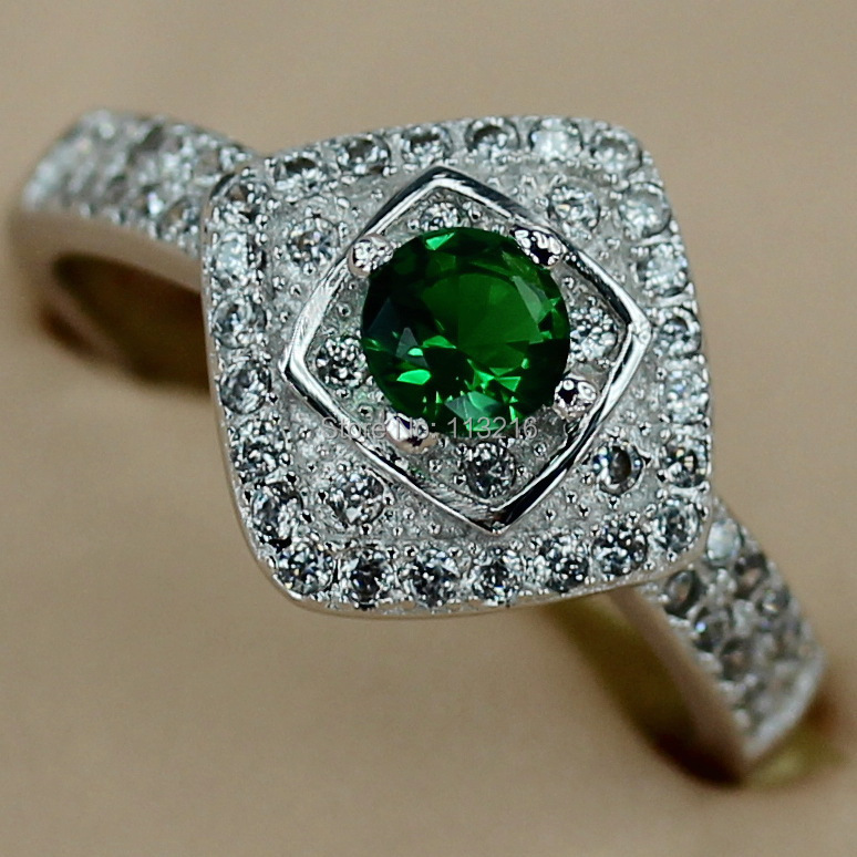 Classic beautiful Peridot Cubic Zirconia Jewelry cute Silver Plated Bohemia Hot Favourite Trendy Ring R3115 sz#6 7 8 9