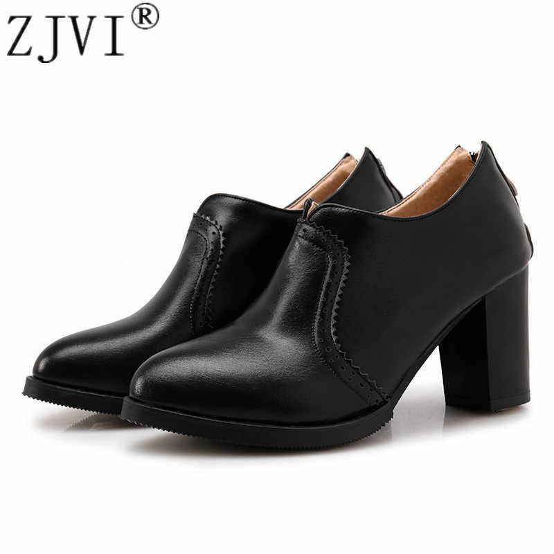 ZJVI/2019 модные весенне-осенние женские туфли-лодочки с круглым носком, пикантные женские туфли на высоком квадратном каблуке 8 см, зимняя женская повседневная обувь черного цвета для работы