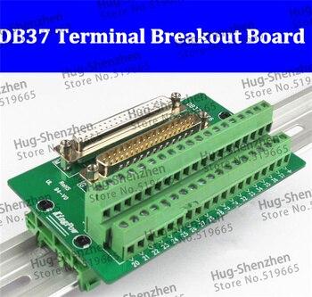 Alta qualidade D-SUB db37 masculino/fêmea cabeçalho breakout board, din trilho módulo bloco terminal, conector