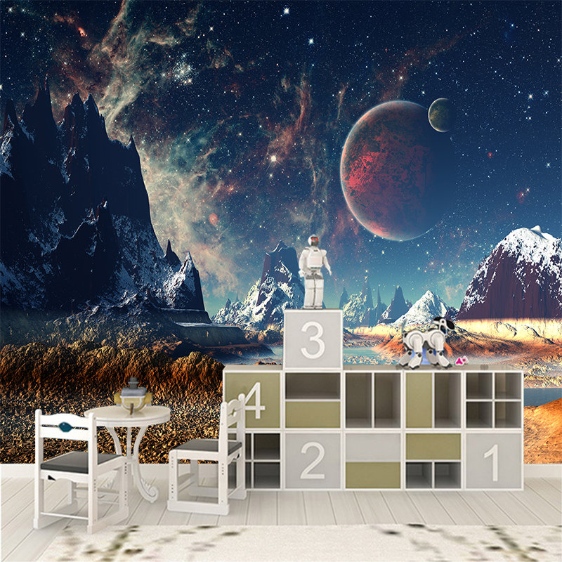 3D Custom Canvas Wall Decoration Fantasy World Poster Space Snowy Moon Wall Stickers Mural Starry Sky Wallpaper Home Decor