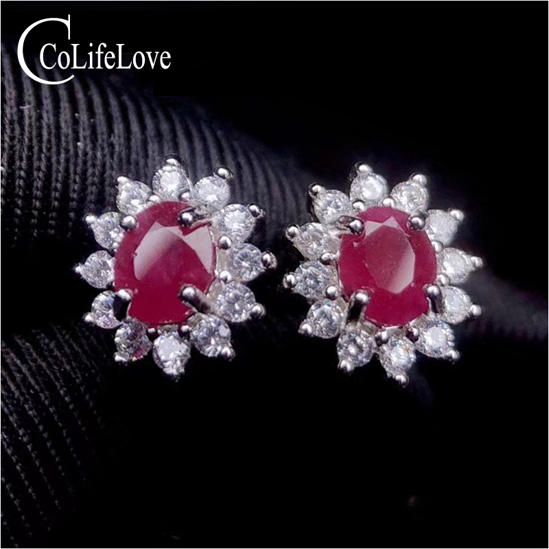 CoLife Jewelry Classic Ruby Stud Earring for Office Woman Silver 0.8ct Natural Africa Ruby Stud Earrings 925 Silver Ruby Jewelry