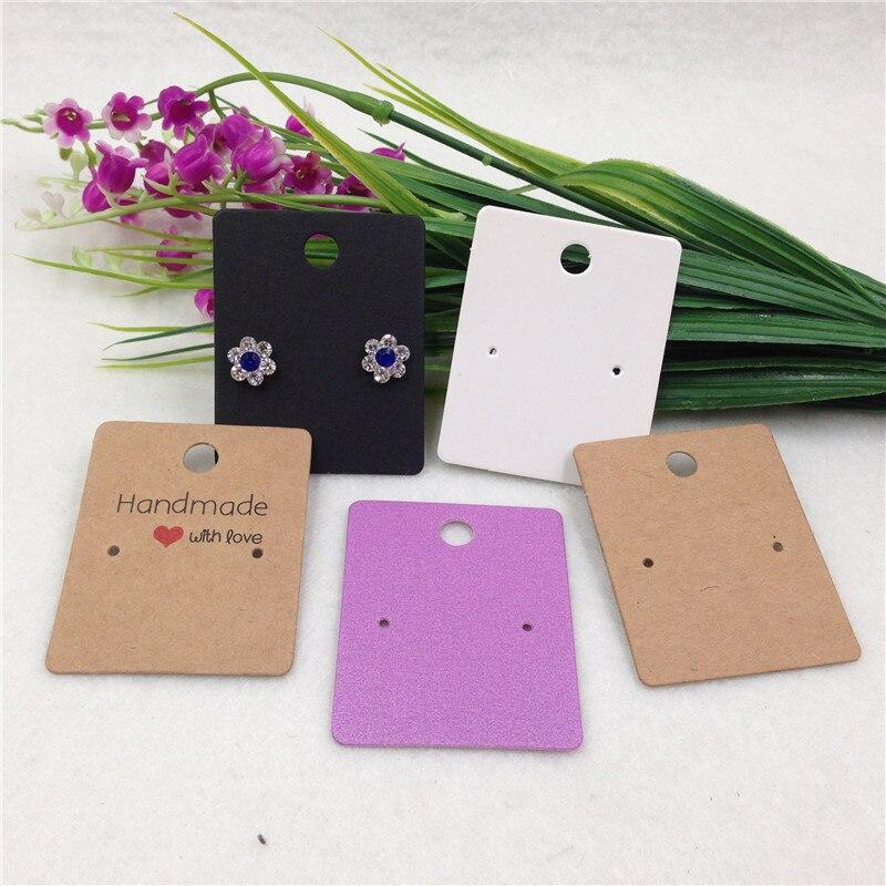 50pcs/lot Small Cute Ear Stud Kraft Display Card Mini Eardrop Earring Ornament Paper Tag Custom Logo Cost Extra