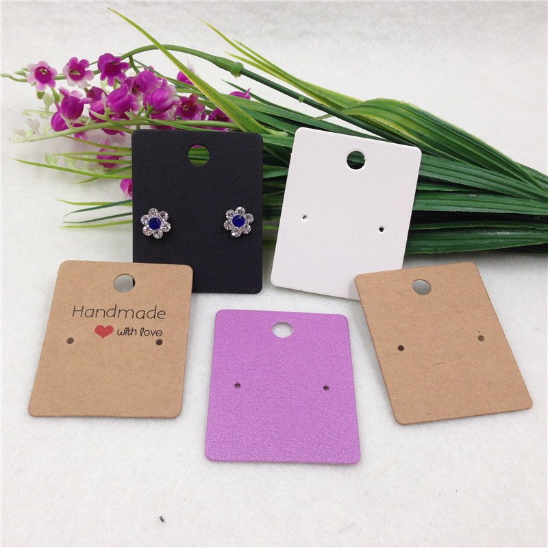 50pcs/lot Small Cute Ear Stud Kraft Display Card mini Eardrop Earring Ornament Paper Tag Custom Logo Cost Extra image