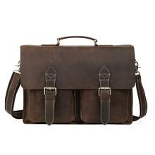 Aolen Genuine Leather Men Briefcase Man Bags Business Laptop Tote Bag Men's Crossbody Shoulder Bag Hot Men's Travel Bags Vintage