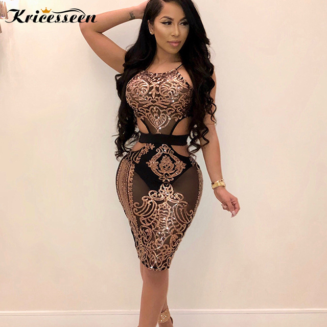 7c9d8b37702 Kricesseen Sexy Women Halter Neck Sequined Bodycon Dress Summer New Ladies  Sleeveless See Through Nightclub Party Birthday Dress