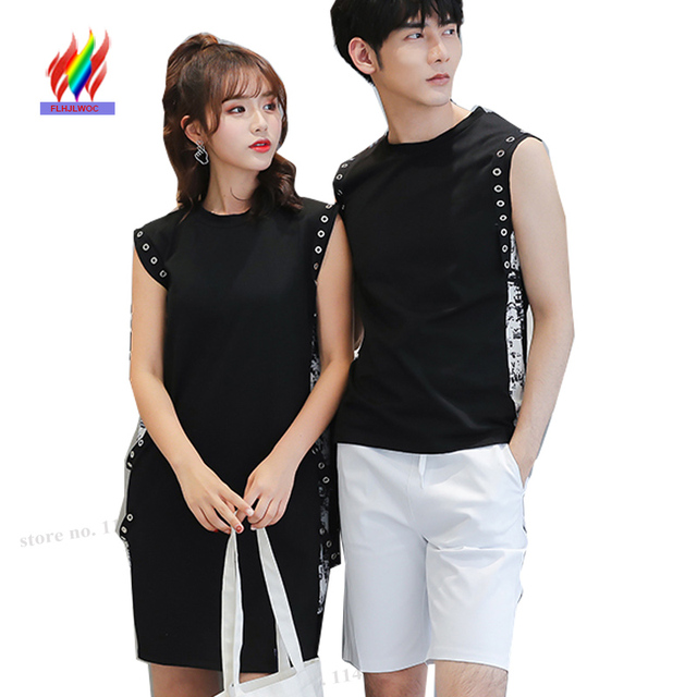 Lovers Couple Clothes Honeymoon Holiday Valentines Gift Birthday Boyfriend Girlfriend Hollow Out Little Black T Shirt