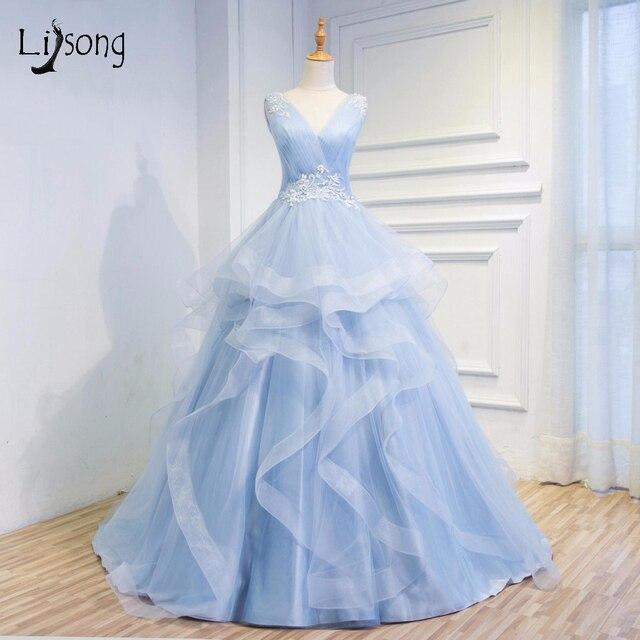 Candy Color Sky Blue Fressh Wedding Gowns 2017 Ruffles