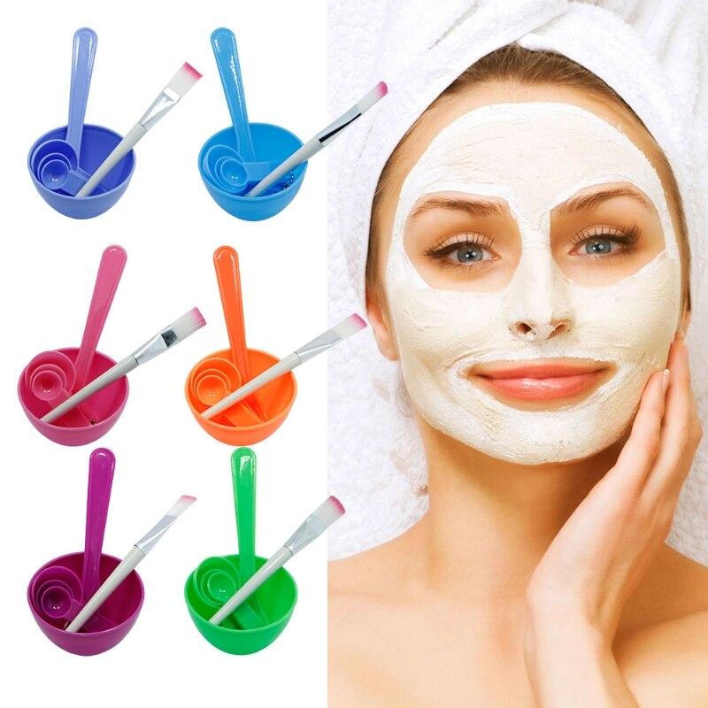 4 в 1 DIY маска для лица миске кисть Spoon Придерживайтесь Инструмент набор для ухода за лицом