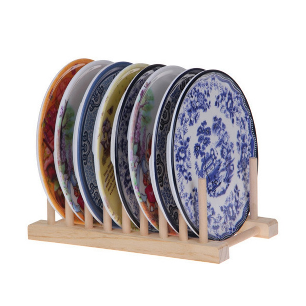 Wooden Drainer Plate Stand Durable Dish Drying Rack 8 Pots Lid Flatware Holder Kitchen Dry Shelf Storage Organizer