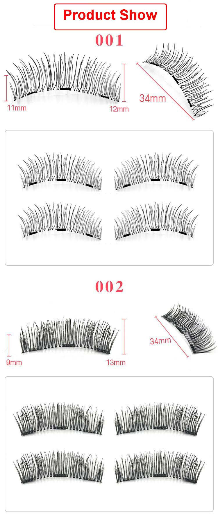 ROMANTIC BEAR High-grade Fiber Magnetic Eyelash Hand made 3 Magnet Fake Lashes Full Strip 120sets/lot DHL Free