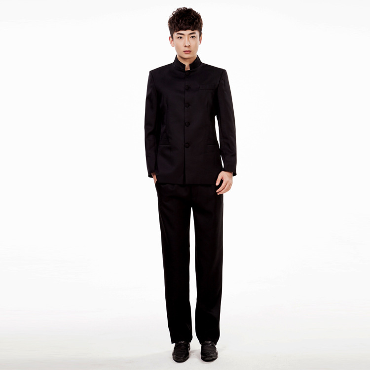 Jacket+Pants Chinese Tunic Suits Men Stand Collar Black Suit Male Slim School Wear Men Blazer Fress Shipping