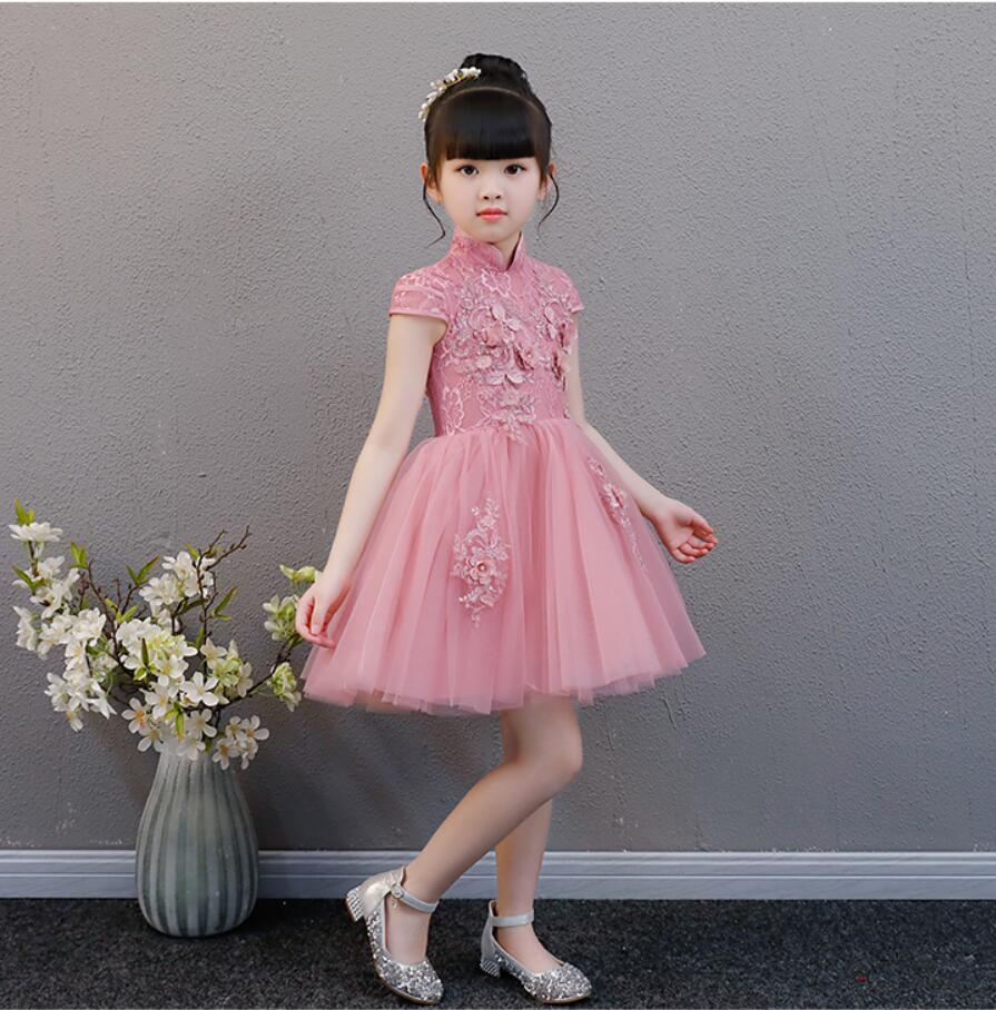 Pink Tulle Wedding Gown: Beaded Floral Pink Tulle Flower Girl Wedding Dress Short