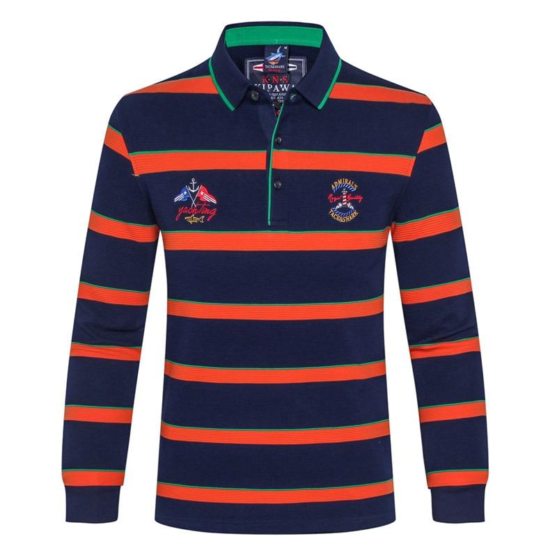 Brand clothing Tace&shark Shark long sleeve shirt Young men striped cotton shirt lapel business Loose clothes big yards mens
