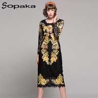 Newest 2018 Spring High Quality Black Lace Gold Floral Embroidery Vintage Knee Length Dress Empire Runway