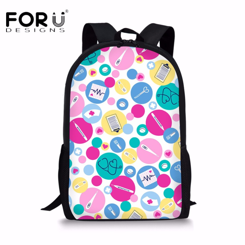 FORUDESIGNS 3D Nurse Puzzle Printing School Backpack Women Fashion Female Casual Canvas Backpack Back Pack for Teenage Girls