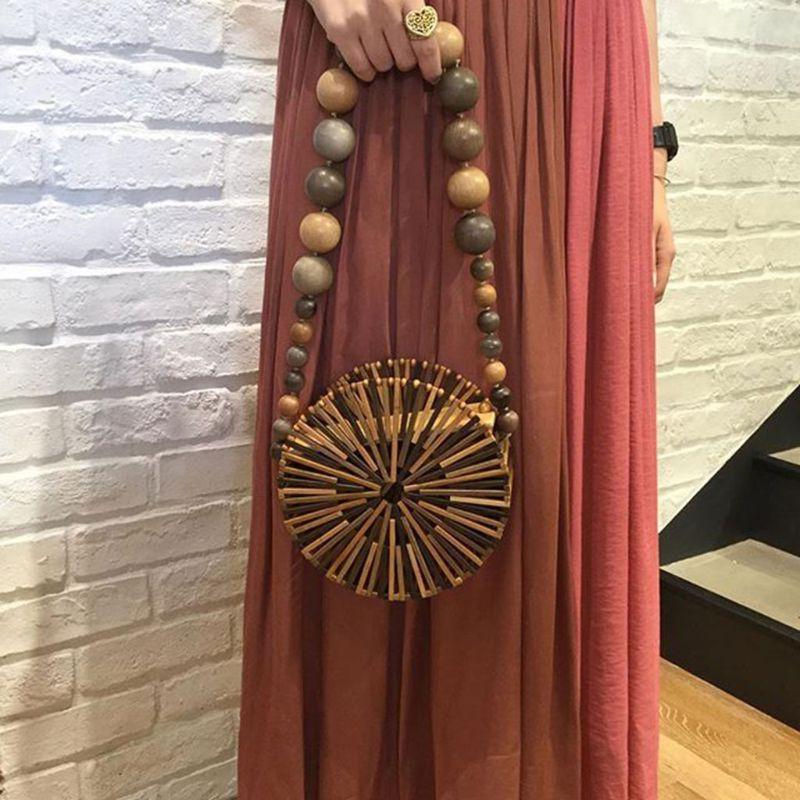 Sac en bambou pour femme sac à bandoulière évidé sac à main de plage d'été sac de panier de tissage pour la fête d'été