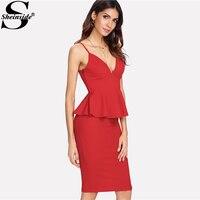 Sheinside Red Deep V Neck Peplum Cami Top Pencil Skirt Sets Strapless Zipper Two Piece Set
