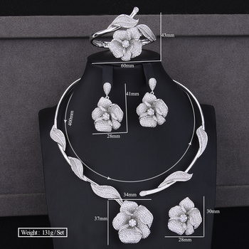 Crystal Sterling Silver Blooming Flower Pendant Jewelry Set 5