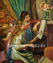 Картина маслом на холсте для молодых девушек на пианино от Pierre Auguste Renoir репродукция ручной работы высокое качество