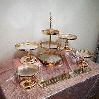 1pcs 7pcs /set Gold Plated Mirror WEDDING CAKE STAND MIRROR TOP
