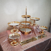1pcs 7pcs /set Gold Plated Mirror WEDDING CAKE STAND MIRROR TOP