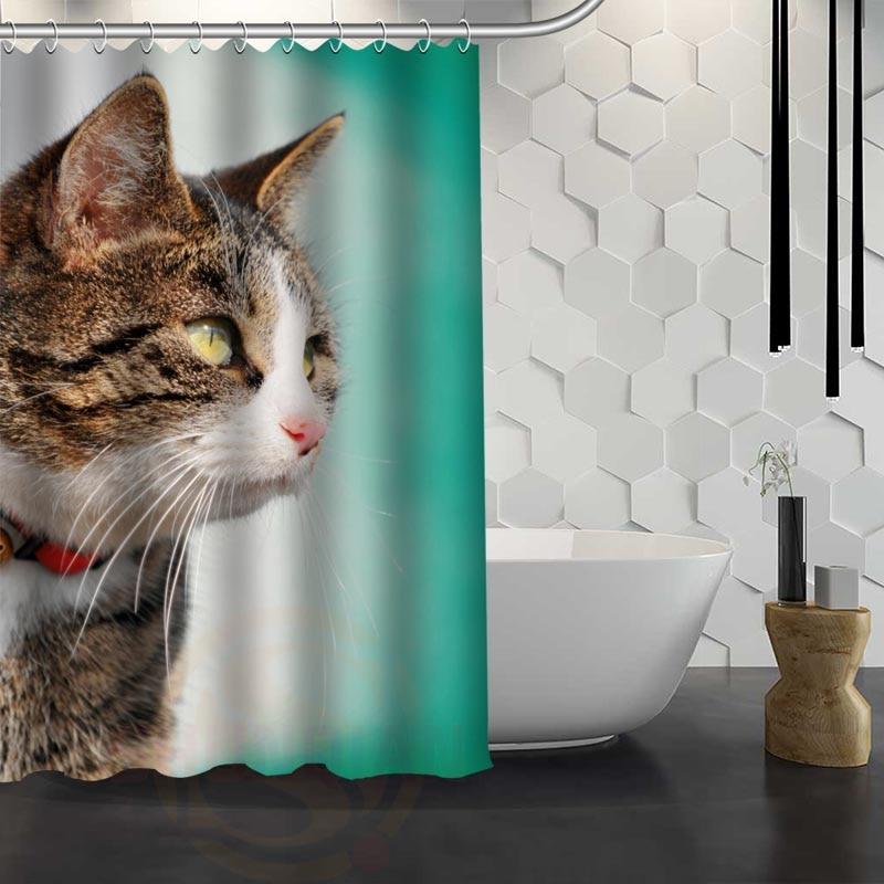 Hot Sale Custom Angry Grumpy Cat Animal Shower Curtain Waterproof Fabric Shower Curtain for Bathroom F#Y1-17