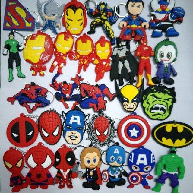 Incredible Hulk Spiderman vingador Maravilha Joker PVC keychain Chaveiro pingente Acessórios Jóias Llaveros presente brinquedos do miúdo