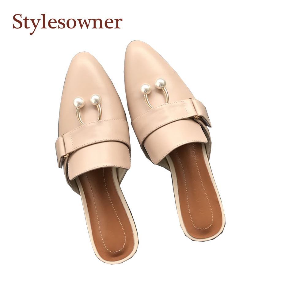 Stylesowner Brand Name 2018 Slipper Beige Real Leather Pointed Toe Pearl Decor Slip On -7387