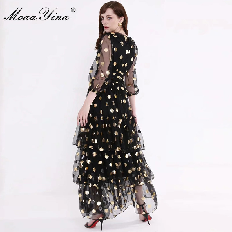 Image 4 - MoaaYina Fashion Designer Runway dress Spring Summer Women Dress V  neck Dot Mesh Black Elegant Party Ruffles DressesDresses   -